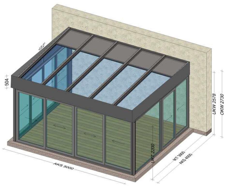 Isolierte Wintergärten mit einem flachen Dach