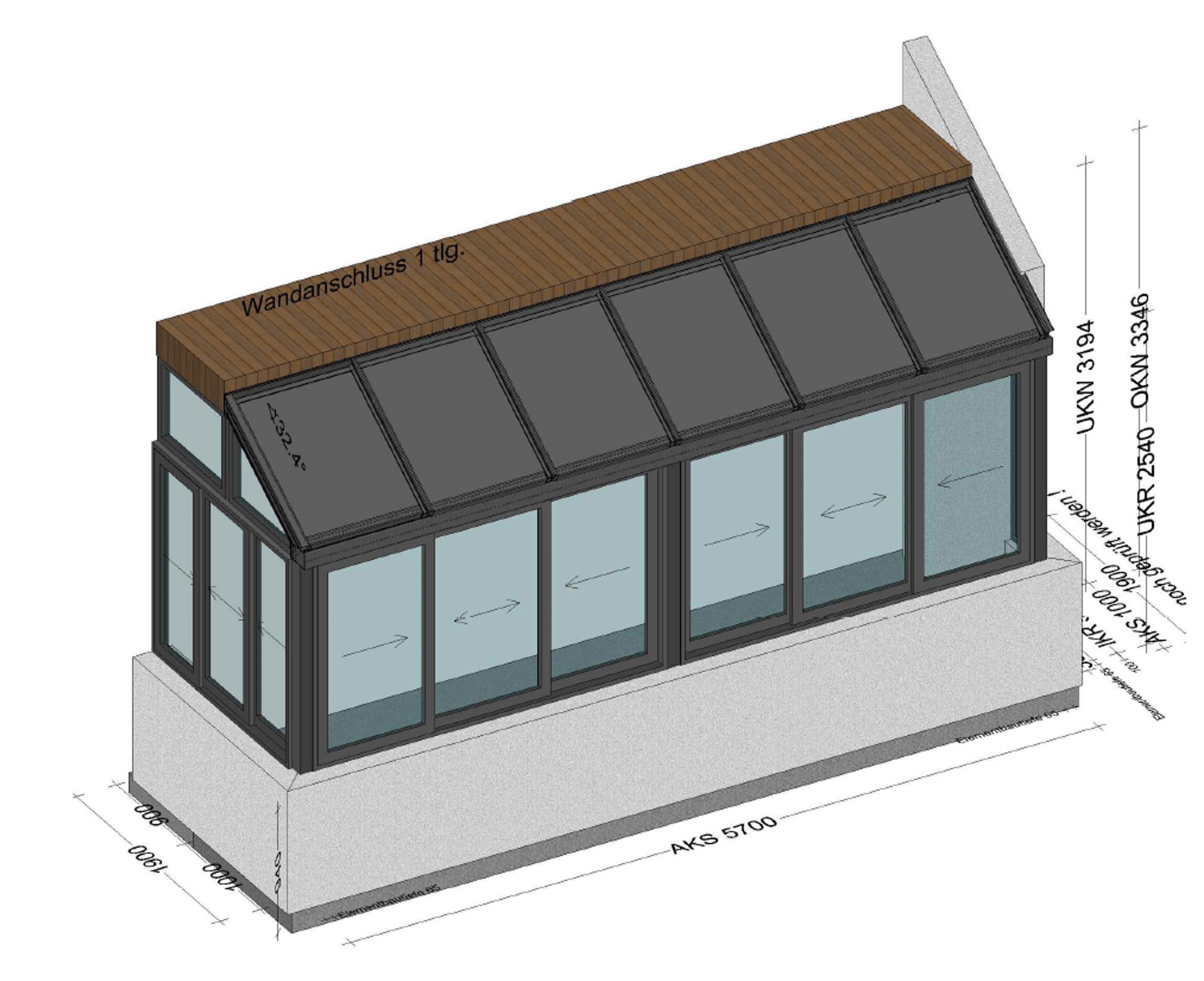 kleiner Wintergarten auf Balkon mit Schiebefenstern