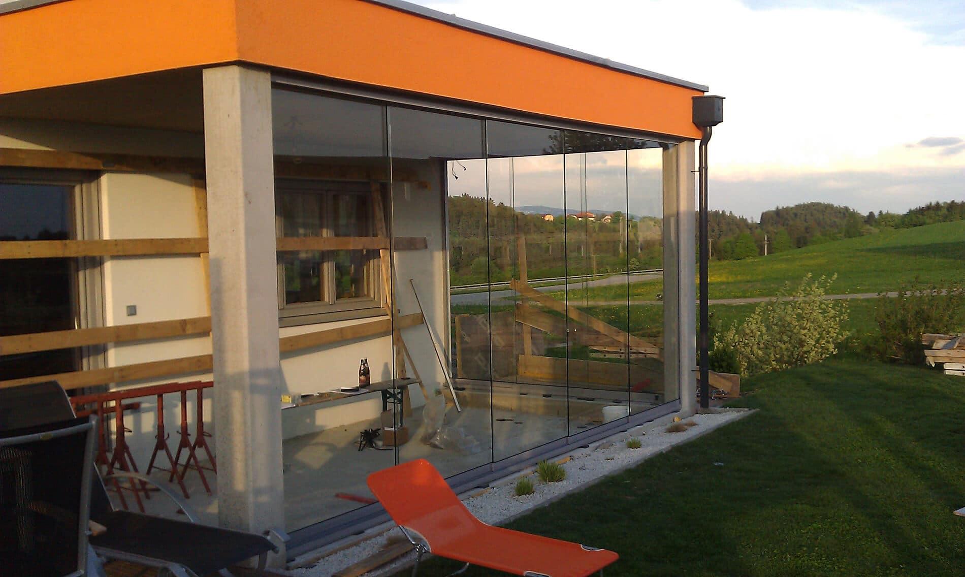 Montage Terrassenverbau Glasschiebeelemente