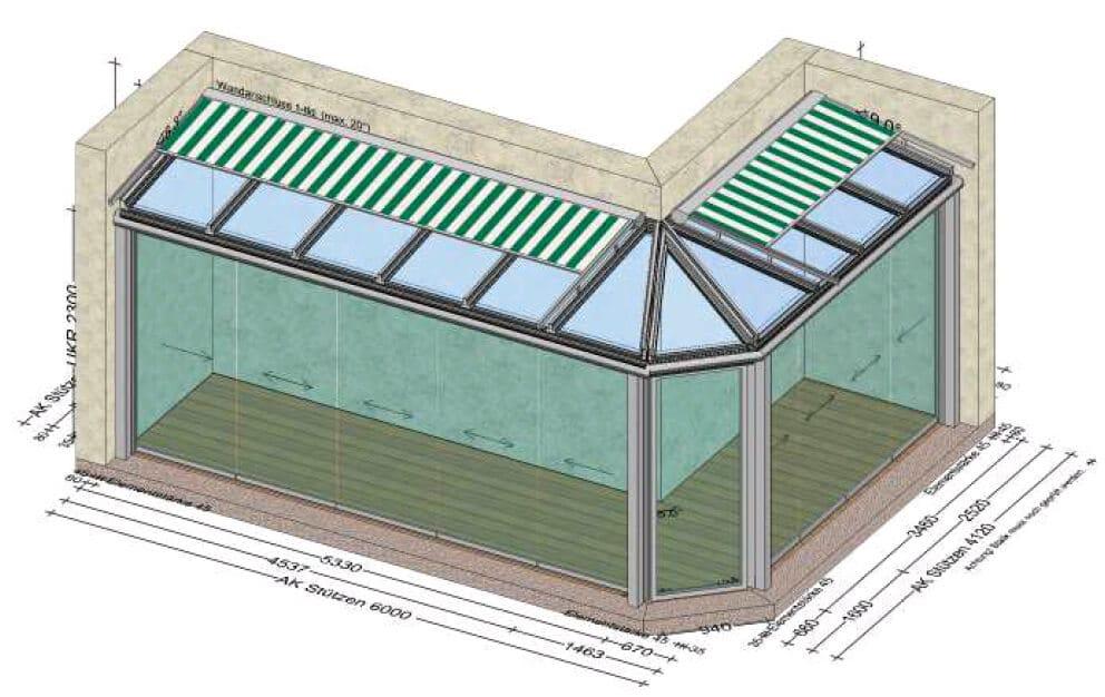 Nurglas Schiebesystem Wintergarten - Eckkonstruktion