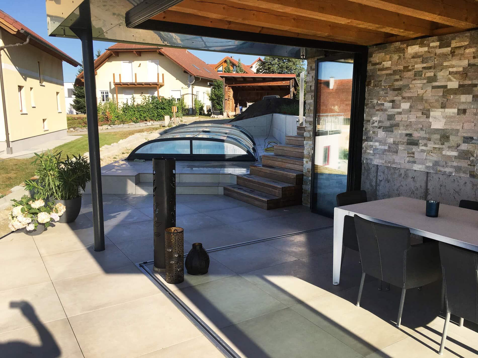 Schiebe-Dreh-Systeme Glas im geöffneten Zustand