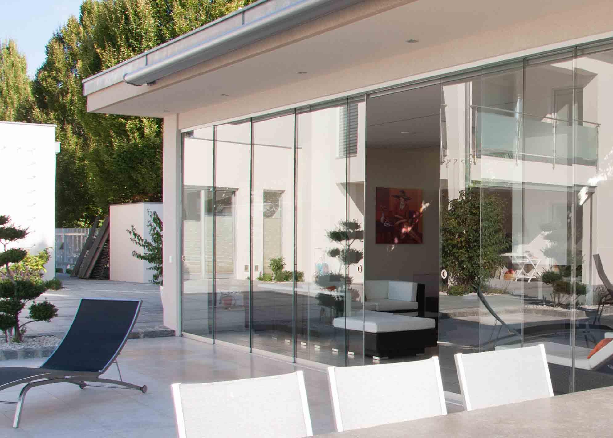 Schiebe Glas Terrasse