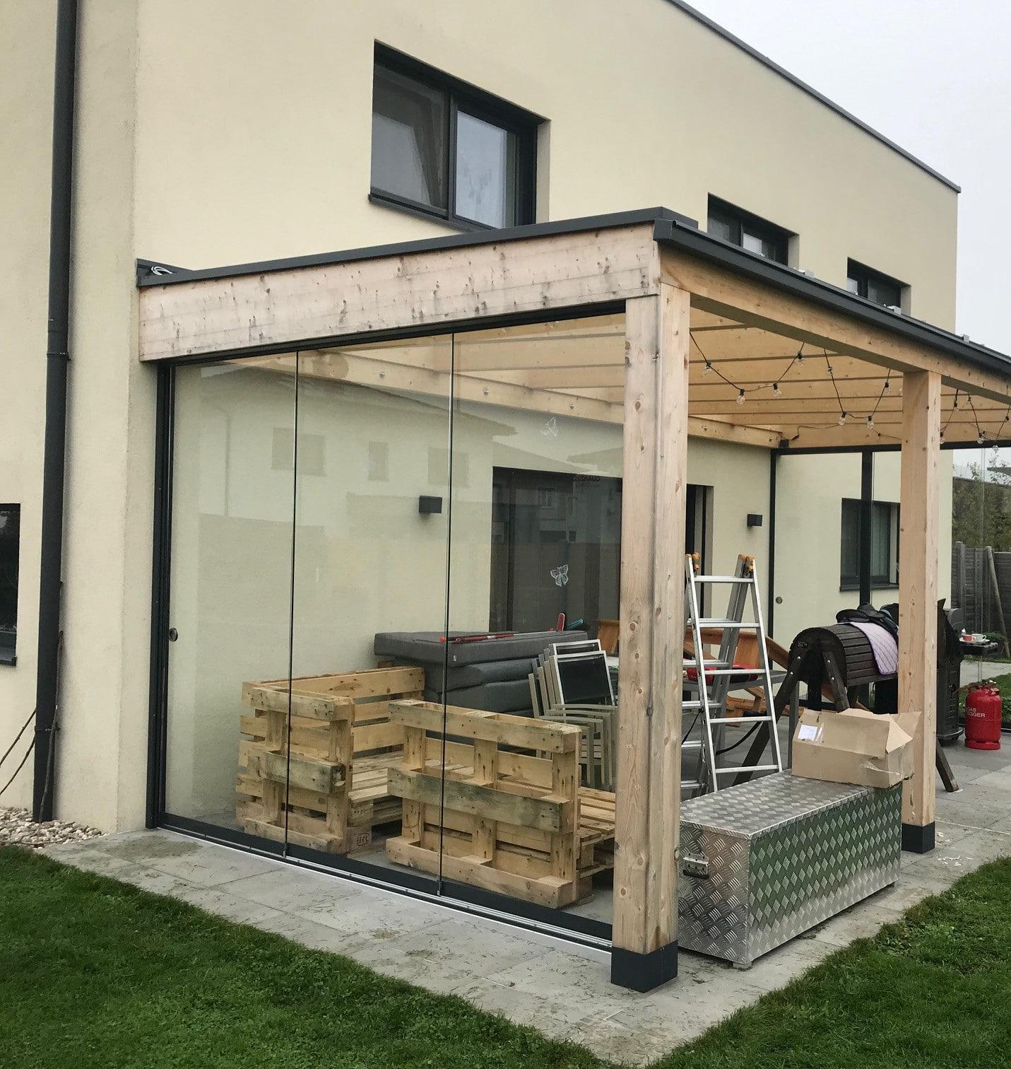Schiebefenster ohne Rahmen für Terrasse