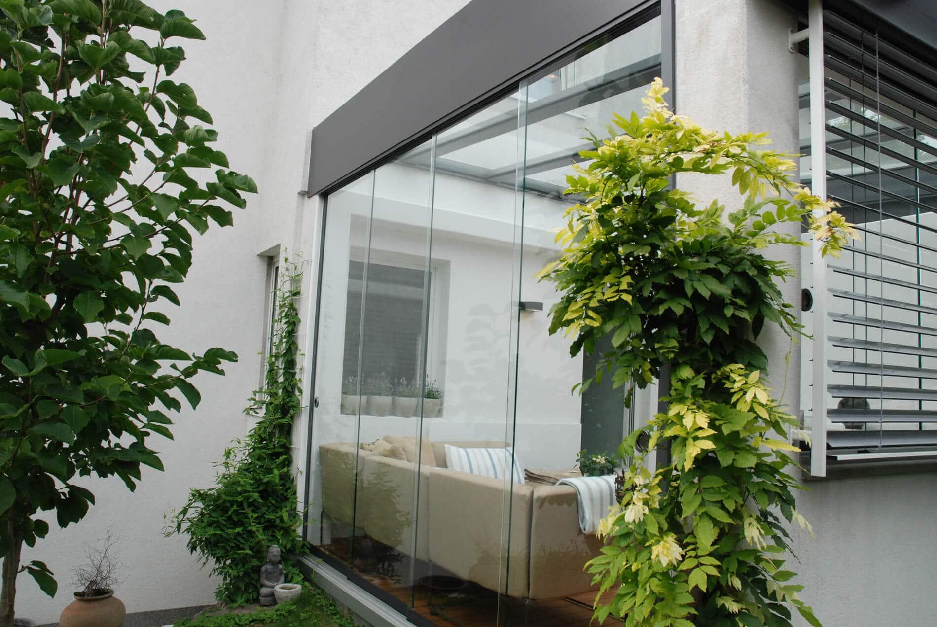 Schiebetür aus Glas für Wintergarten