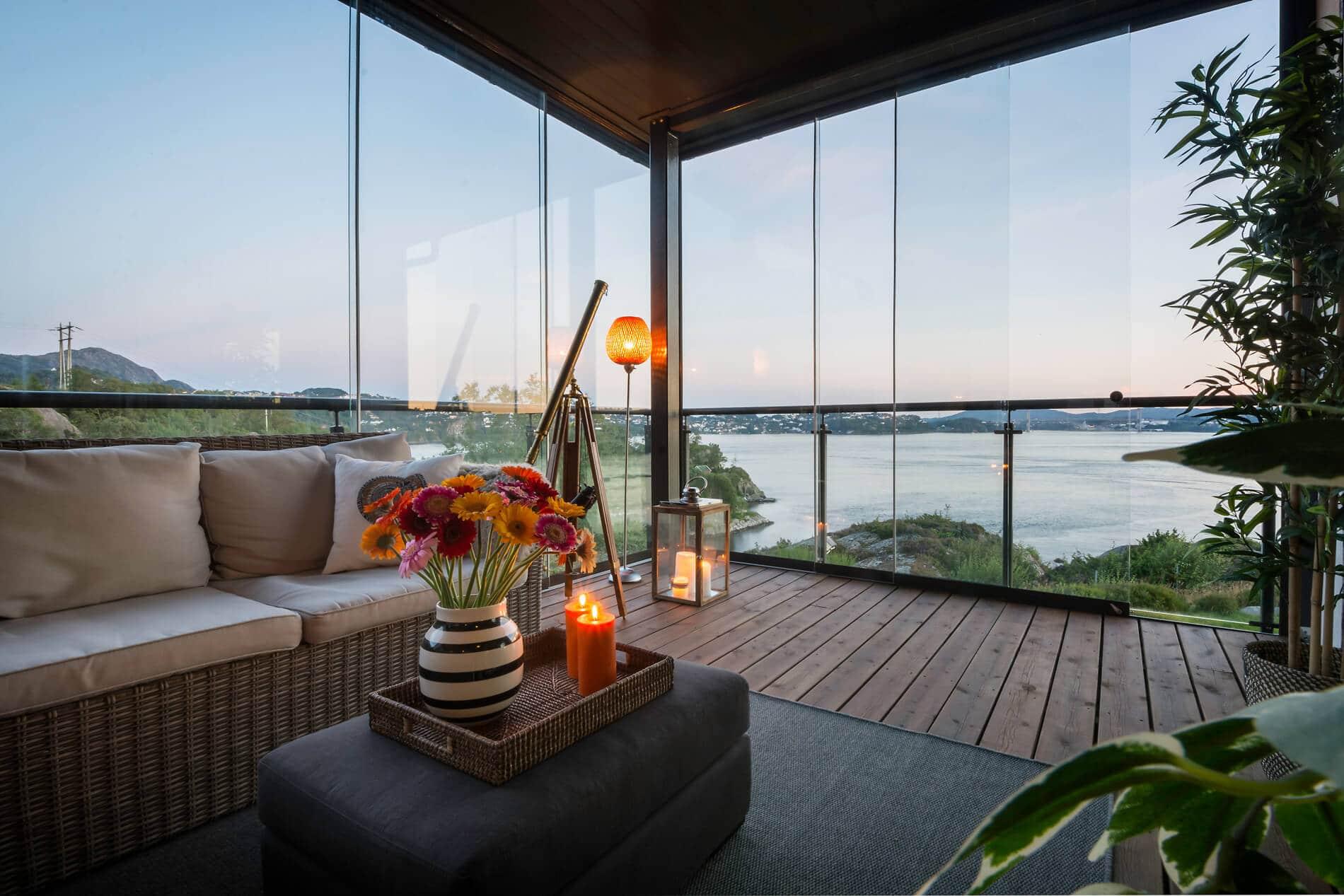 Schiebetüren ohne Rahmen für Terrasse