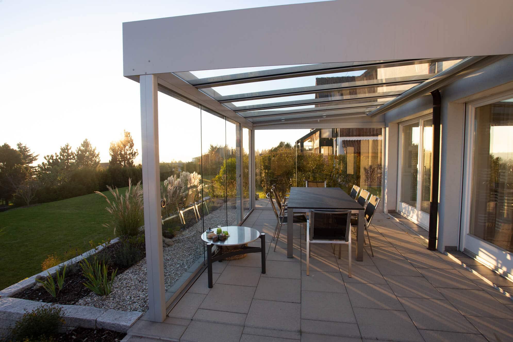 Schiebeverglasungen für Terrassendach
