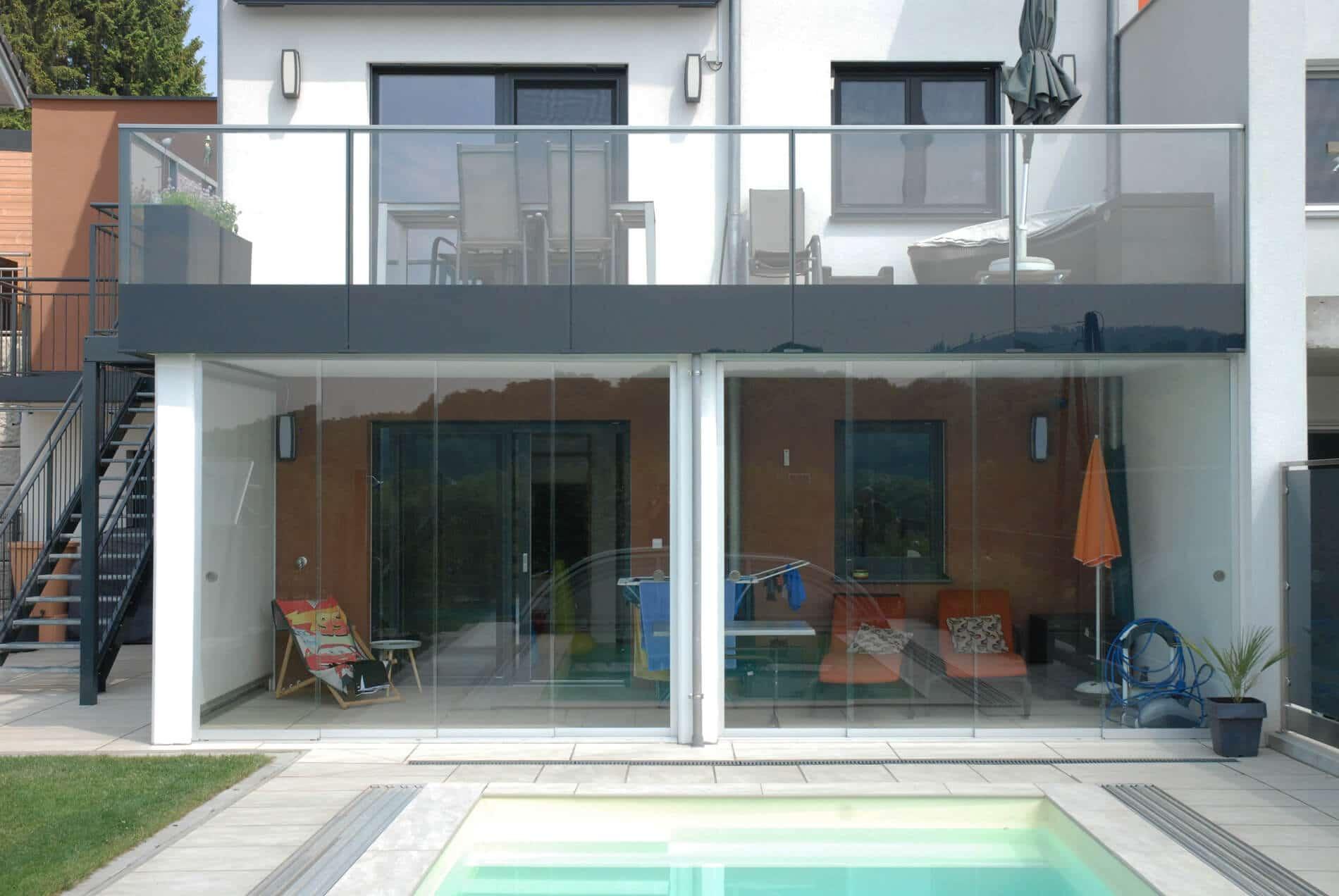 Schiebewand Glas Terrasse