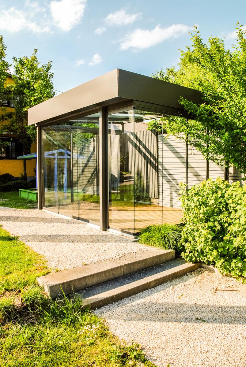 Schmidinger Sommergarten Anthrazit grau Flachdach Konstruktion