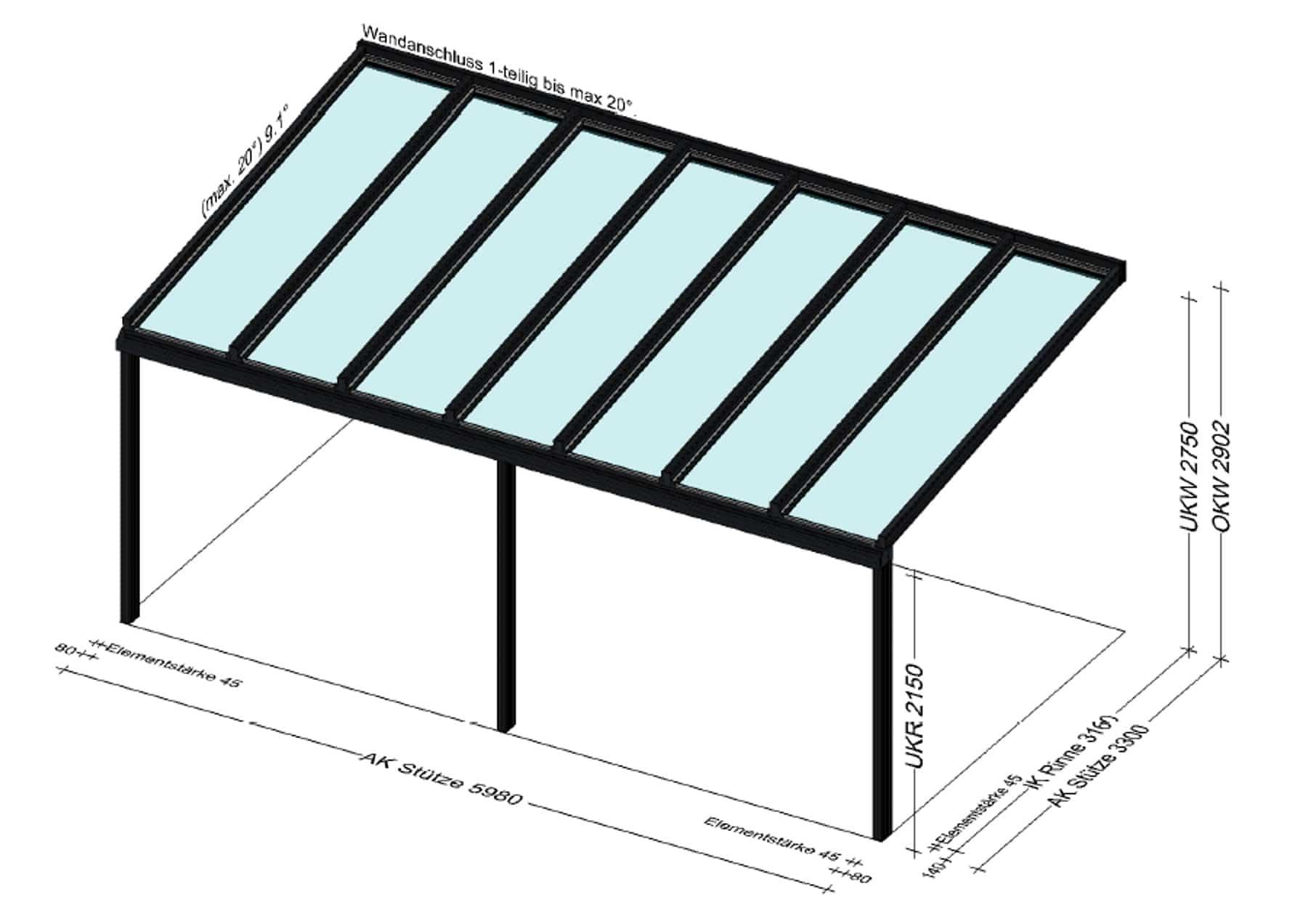 Schmidinger Terrassenüberdachung 6 x 3,3 Meter