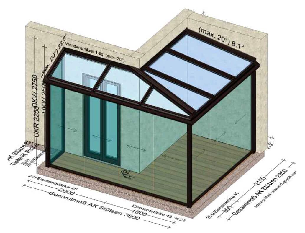 Sommergärten ums Eck mit Glasschiebewänden