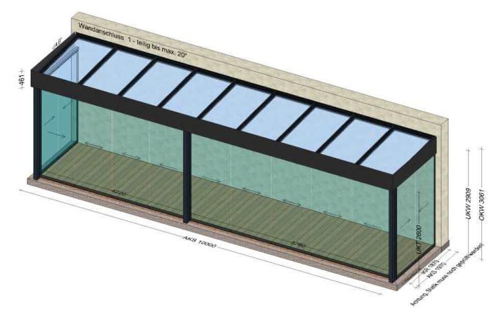 Sommergarten 10 x 3 Meter - Flachdach - Preis