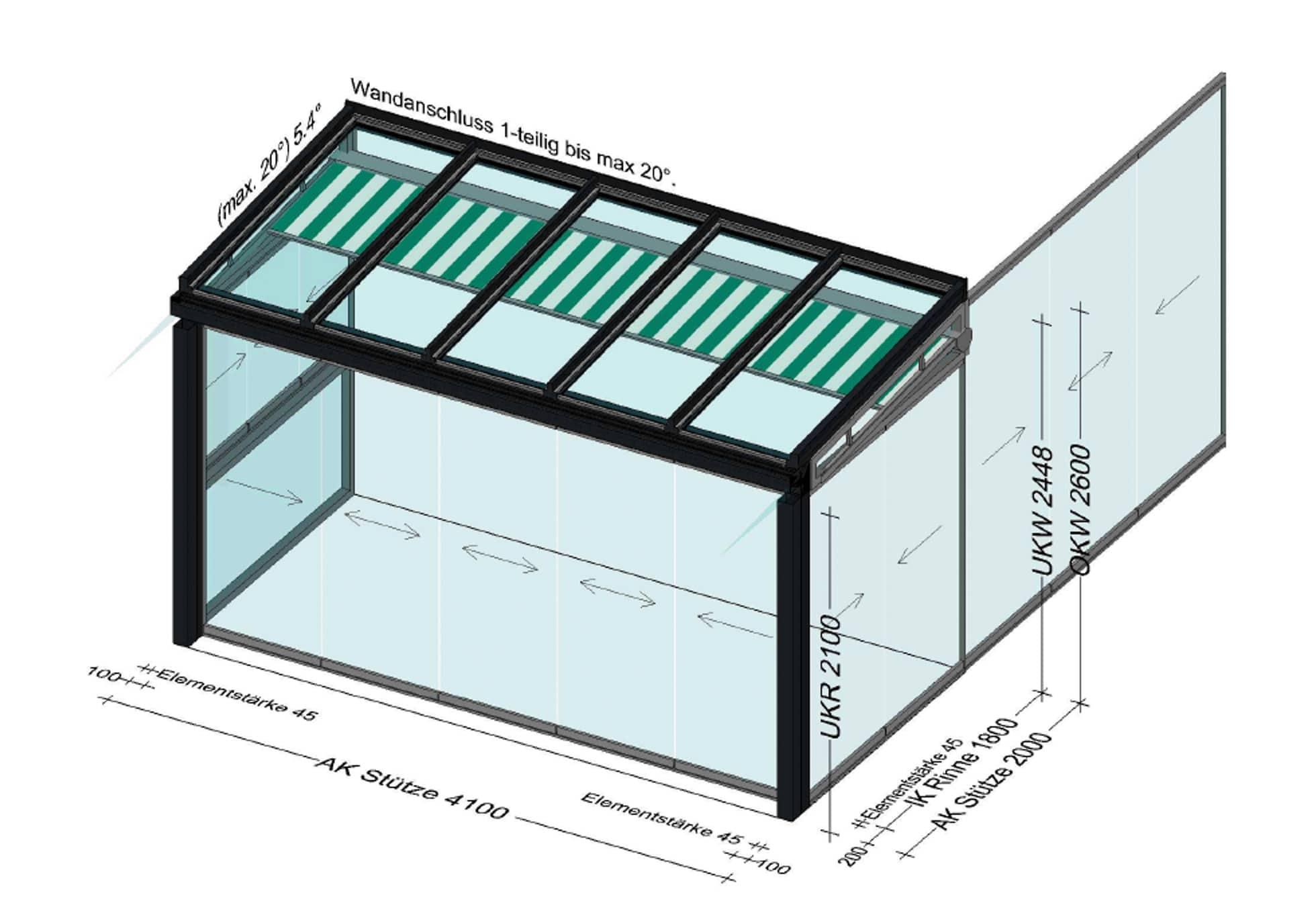 Sommergarten Anbau Alu mit Unterglas Beschattung
