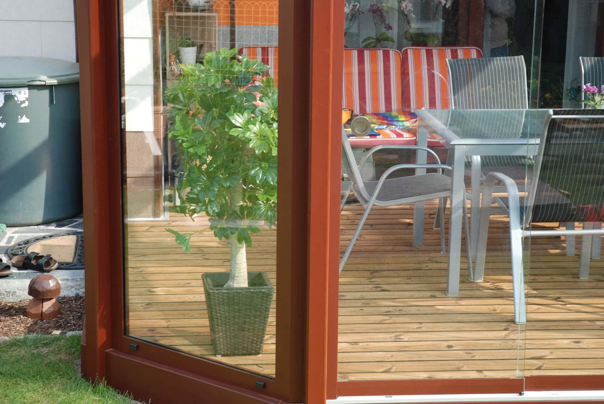 Sommergarten Glasschiebetüren Detail