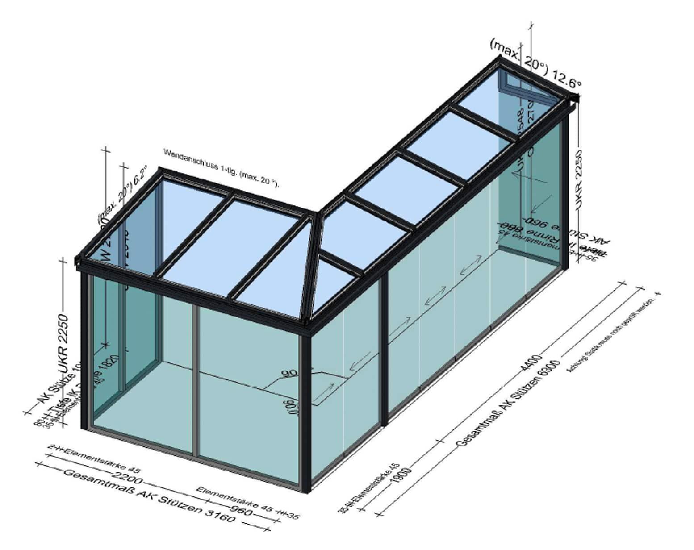 Sommergarten mit Glasschiebetüren mit integrierte Mitnehmer-Funktion