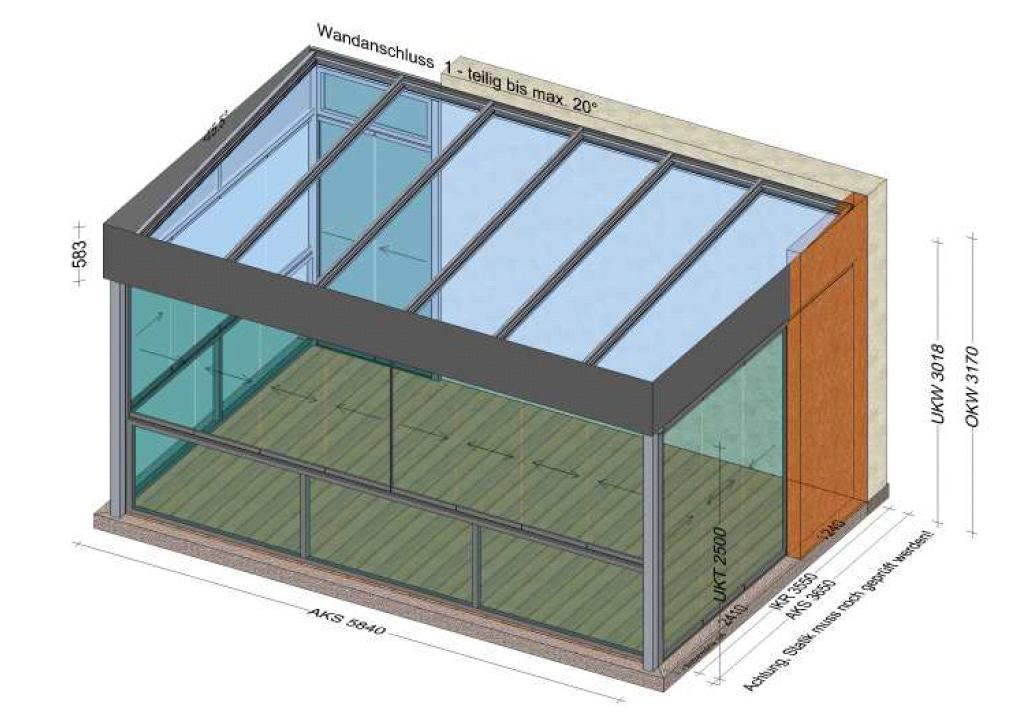 Sommergarten mit Schiebe-Dreh-Fenstern und Flachdachoptik - Attika