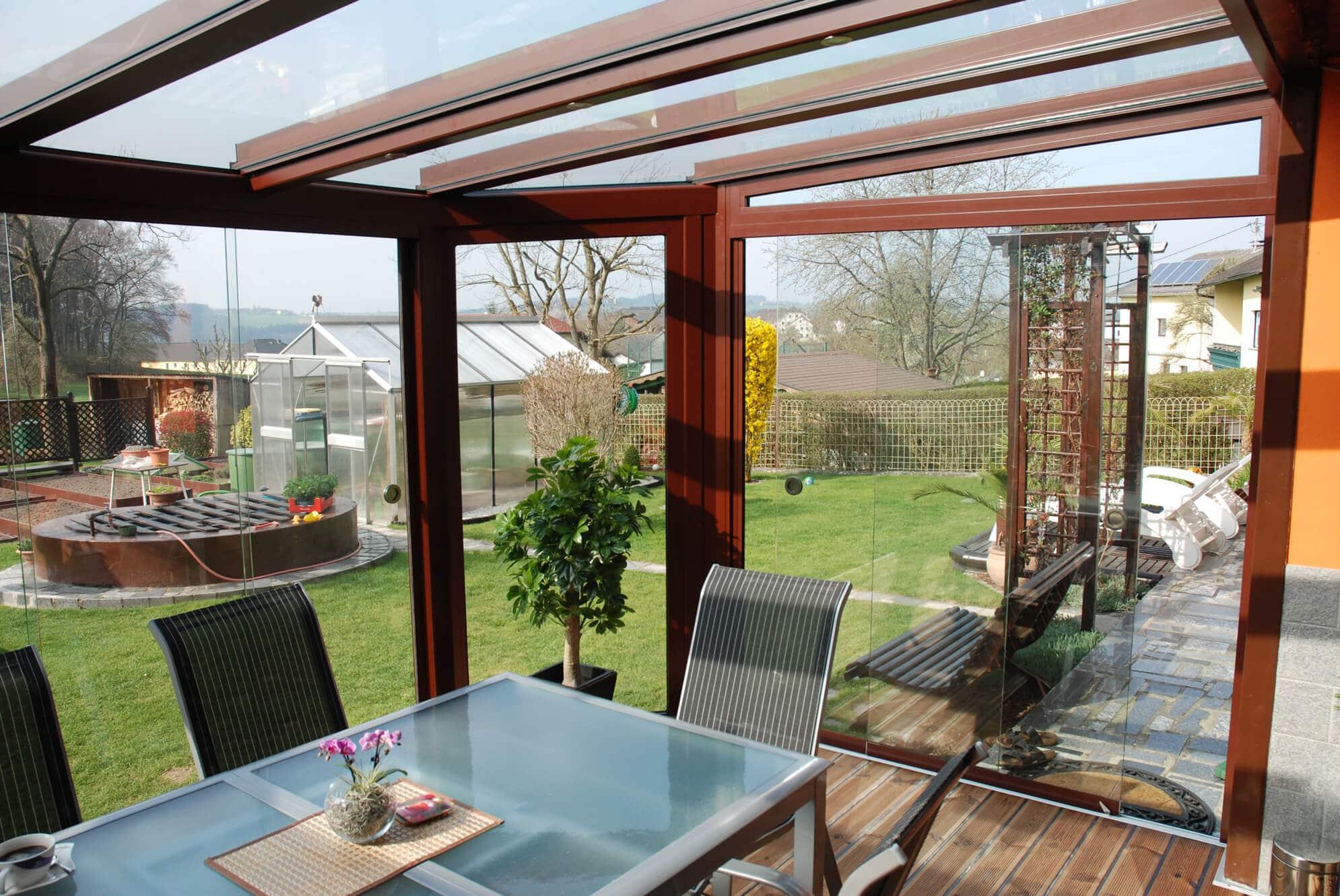 Sommergarten Pultdach Glasschiebetüren