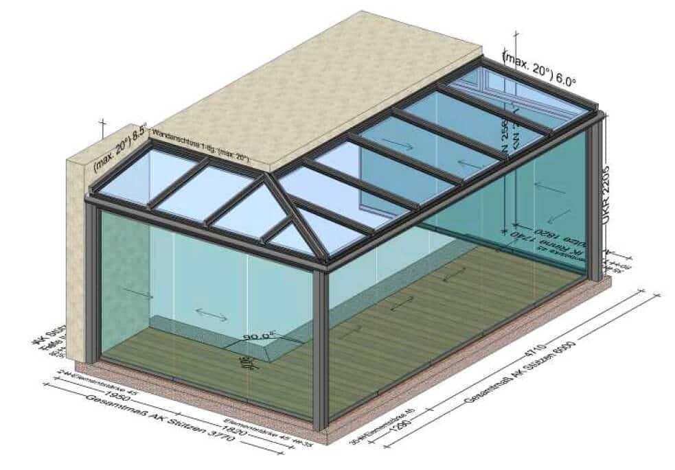 Sommergarten ums Eck aus Aluminium - Planung