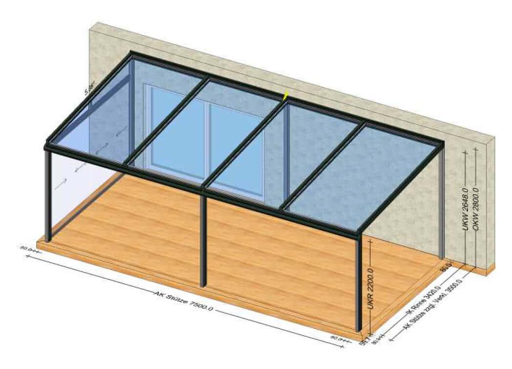 Teilverglaste Terrassenüberdachung - Planung OÖ
