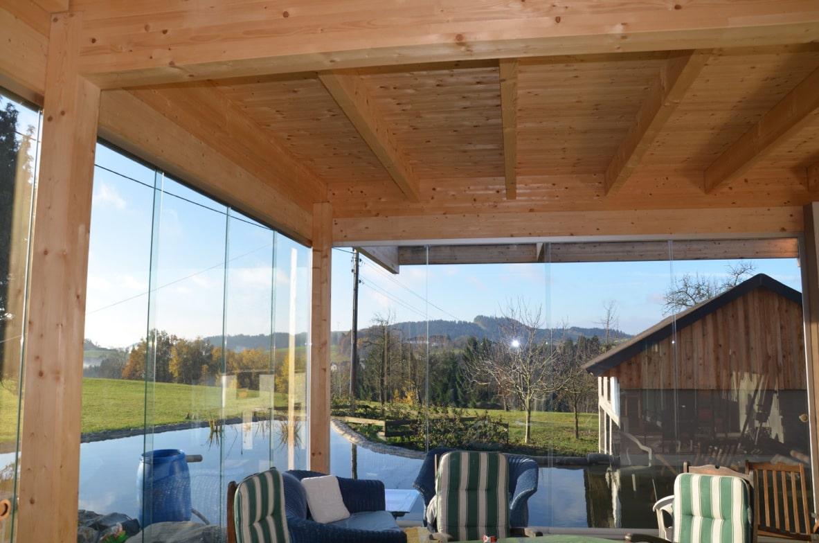 Terrasse Anbau mit Glas