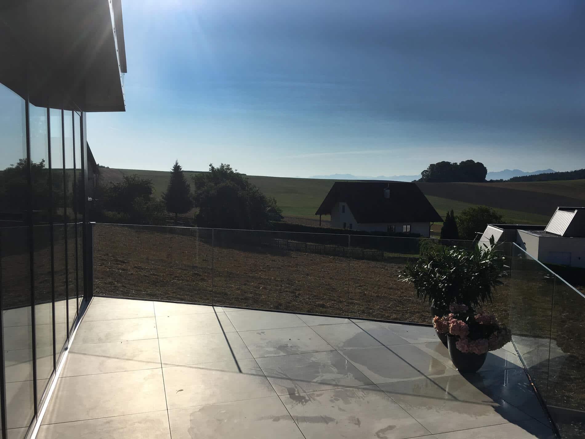 Terrassen Faltwand Alu Glas