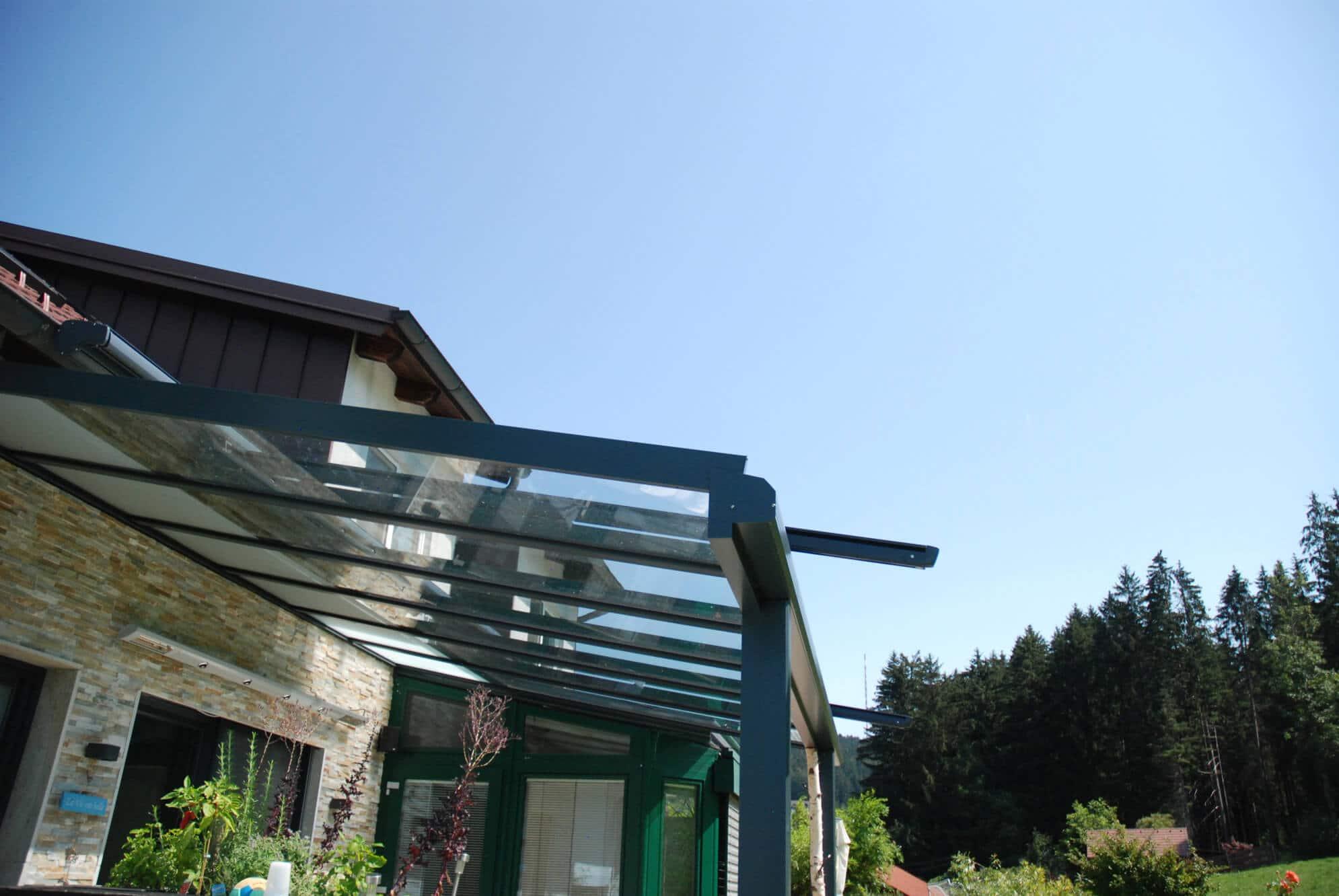 Terrassen Glasdach Alu anthrazit RAL 7016