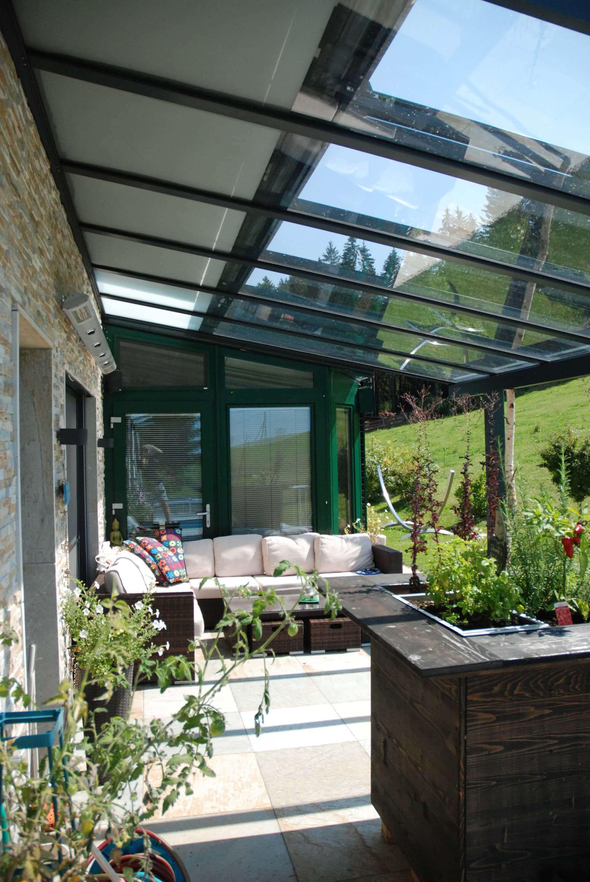 Terrassen Glasüberdachung Aluminium und Sicherheitsglas