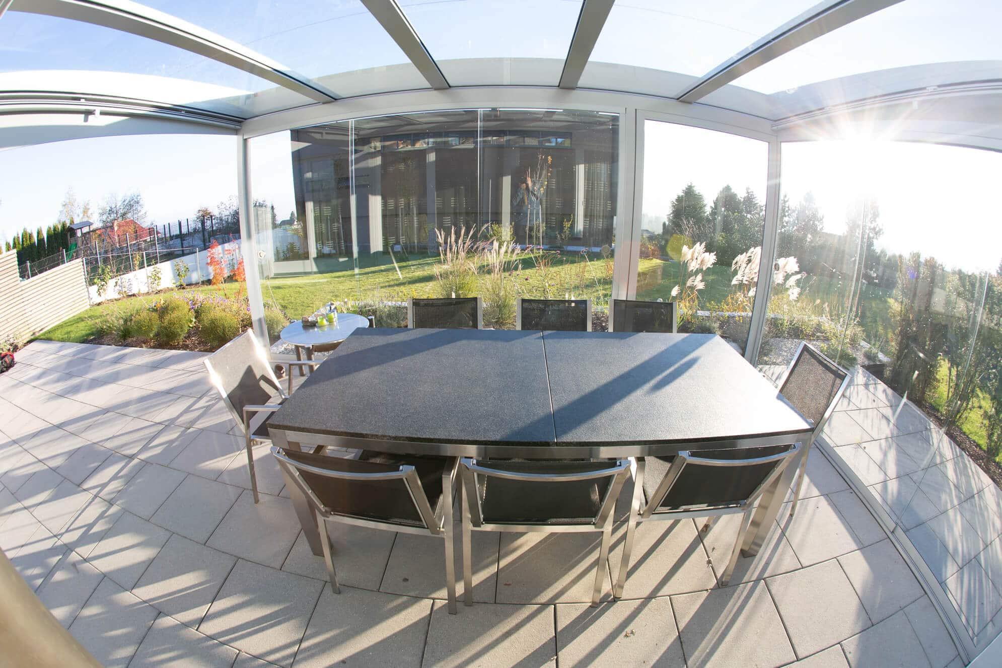 Terrassen Windschutz Glas