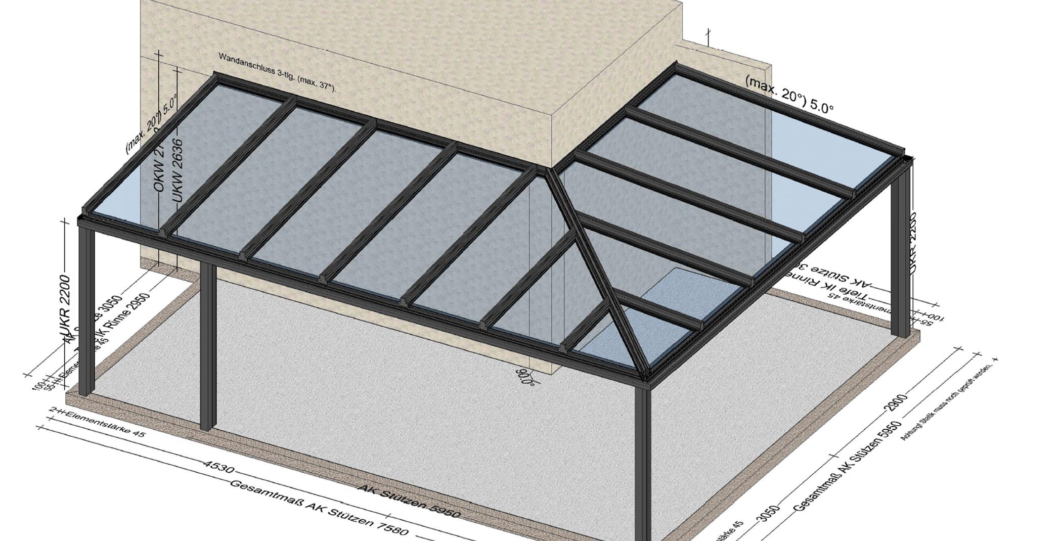 Terrassendach Alu Glas mit Montage