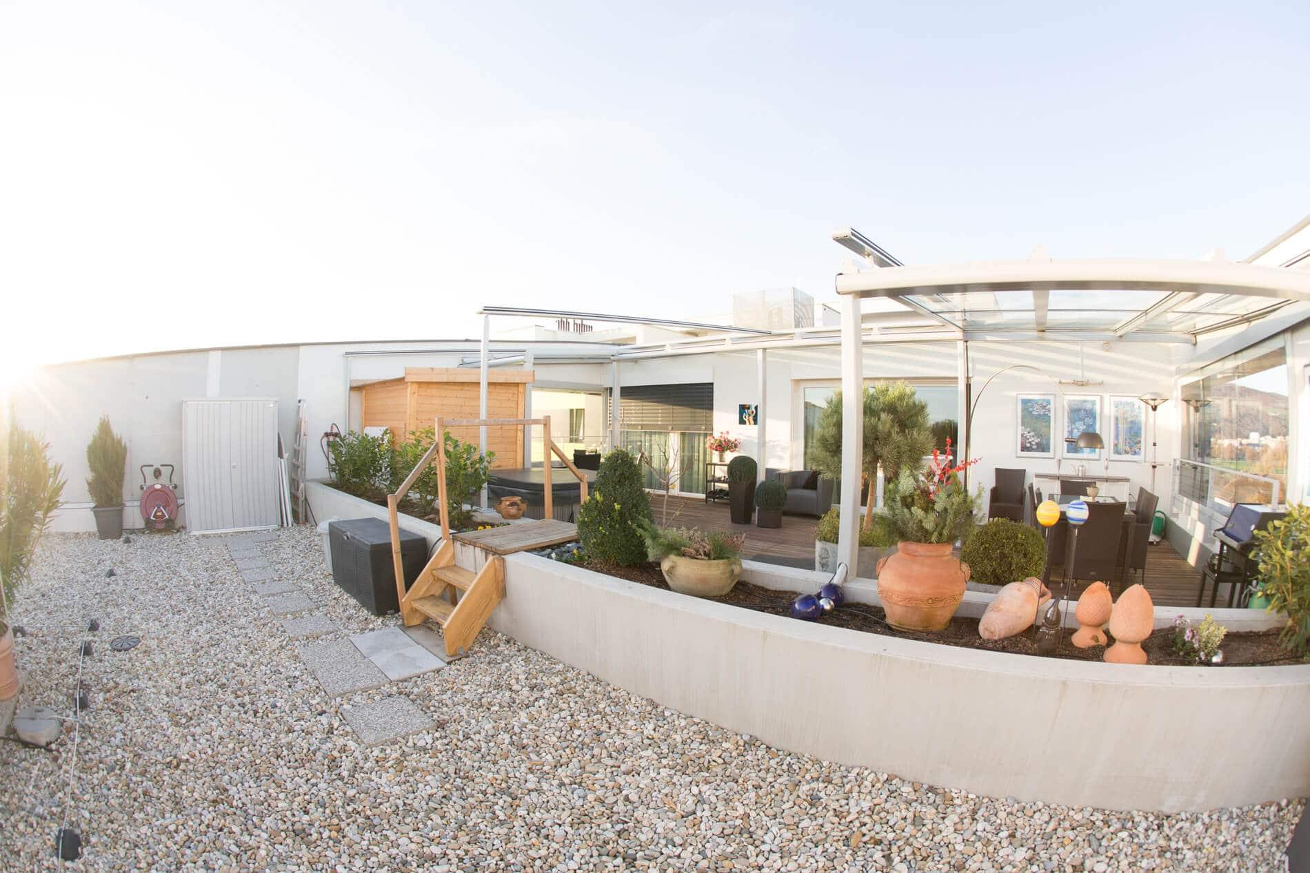 Terrassendach Alu Glas seitlicher Windschutz