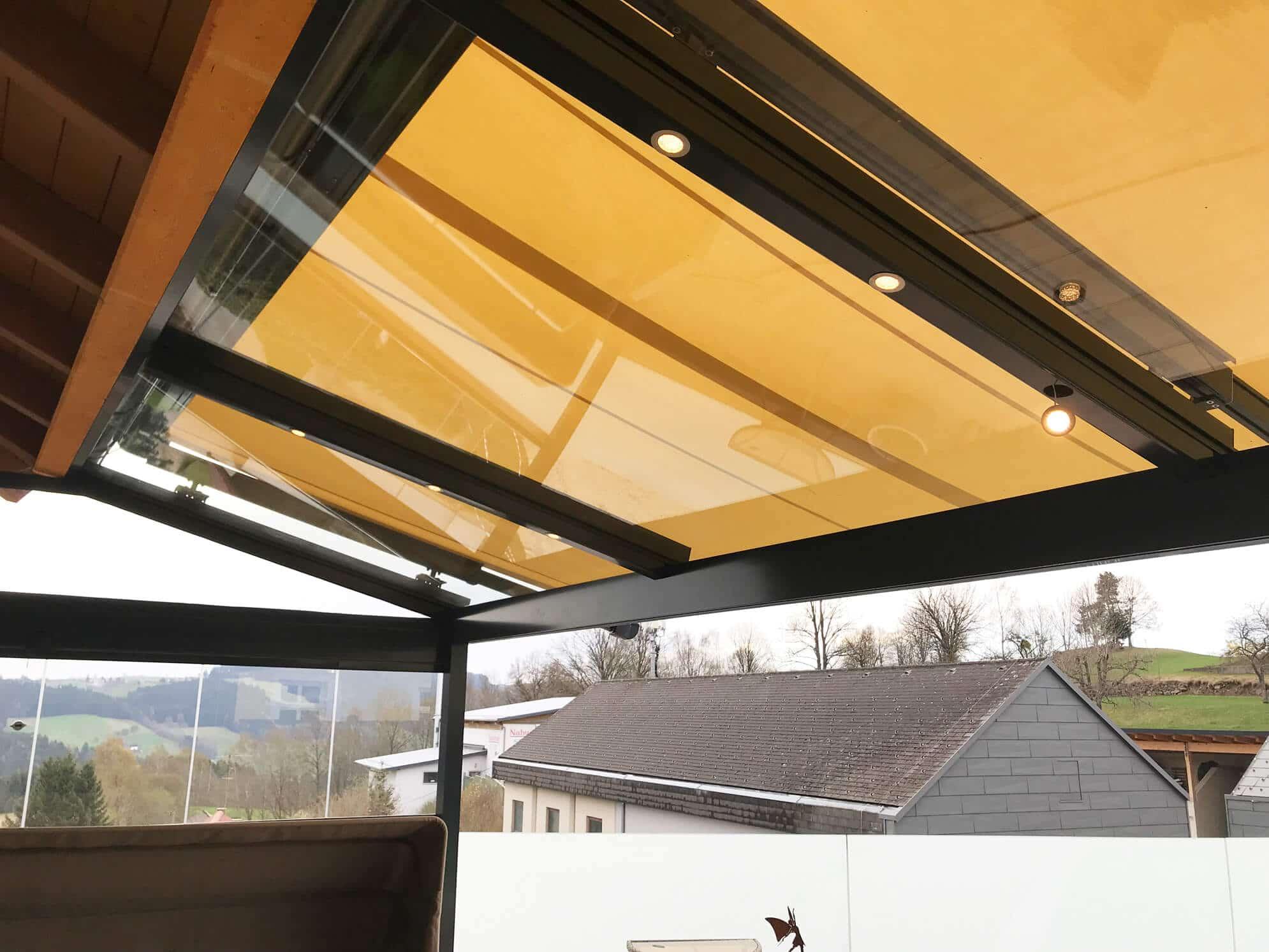 Terrassendach anthrazit RAL 7016 mit Glasdach