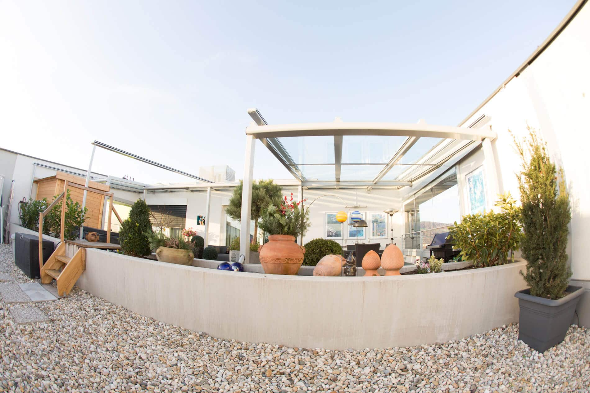 Terrassendach Glas Aluminium Windschutz