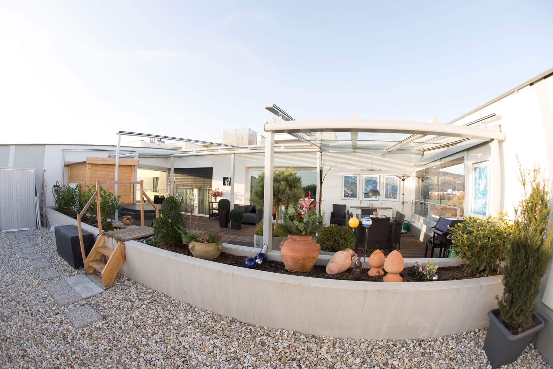 Terrassendach mit Schiebewand Sunflex SF 20