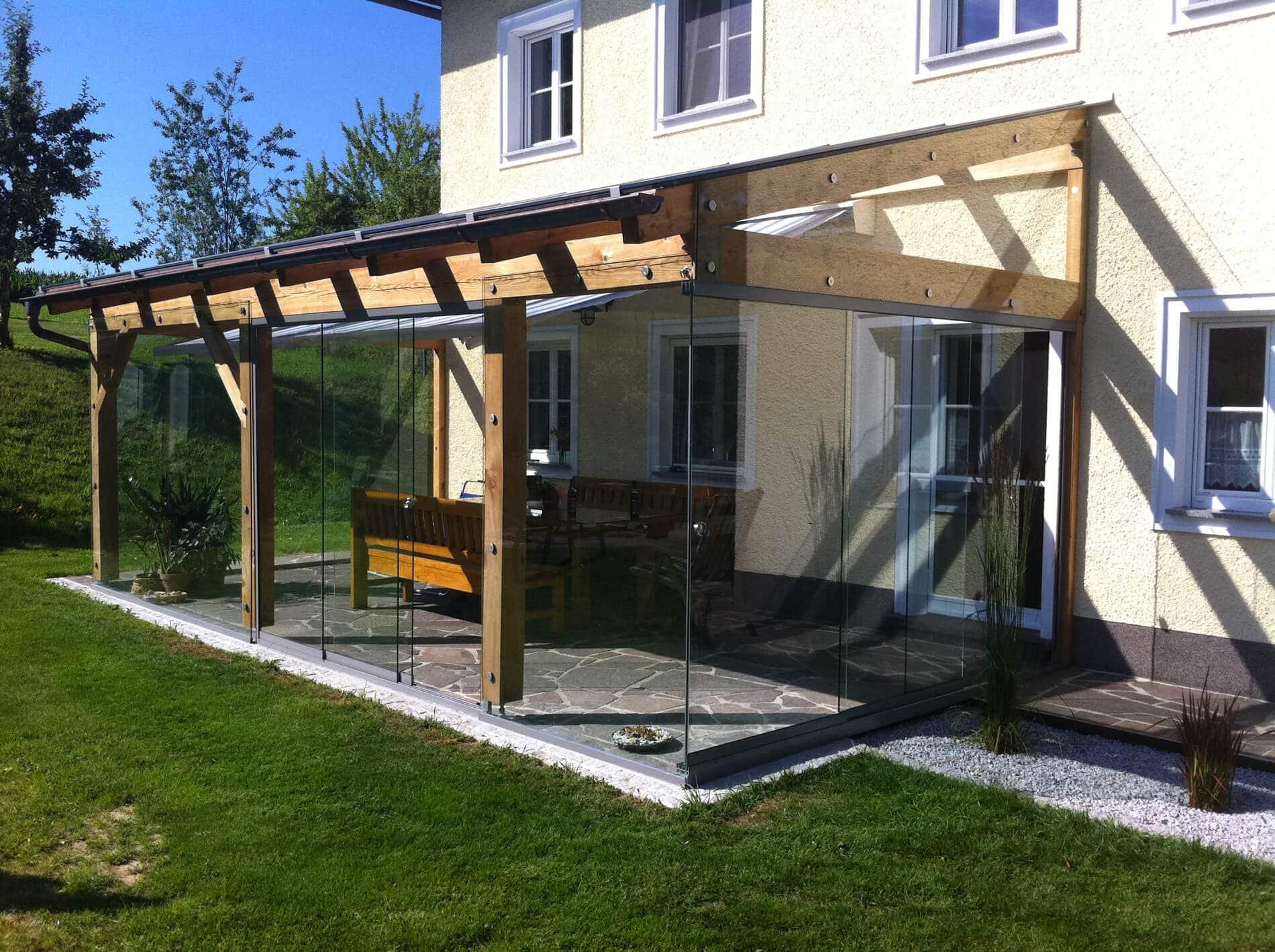 Terrassendach mit Sunflex Glasschiebewand