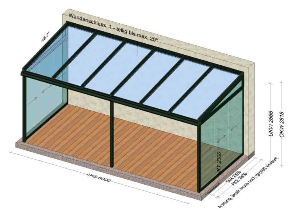 Terrassendächer Glas mit seitlichen Schiebetüren