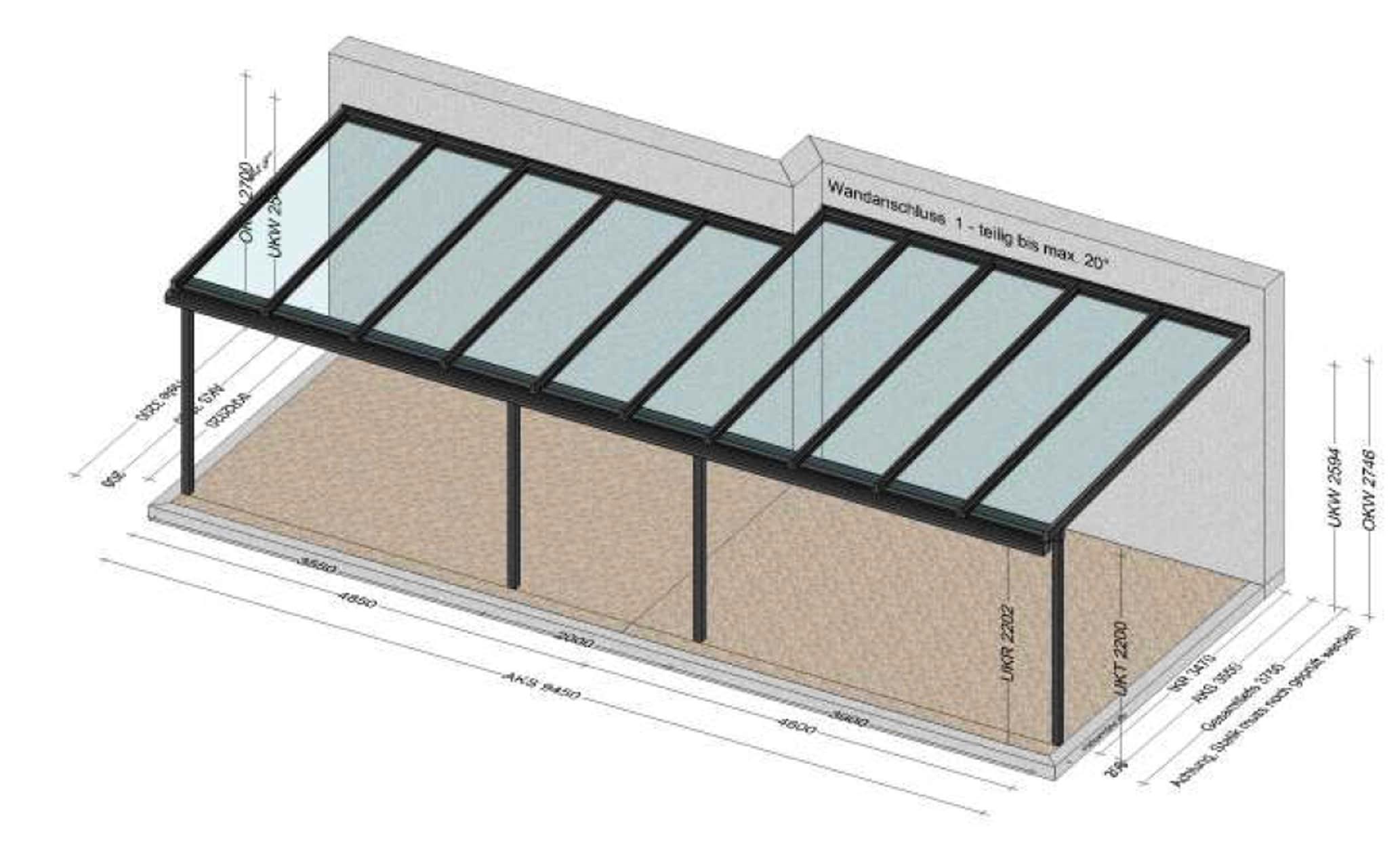 Terrassenglasdach 10 x 4 Meter