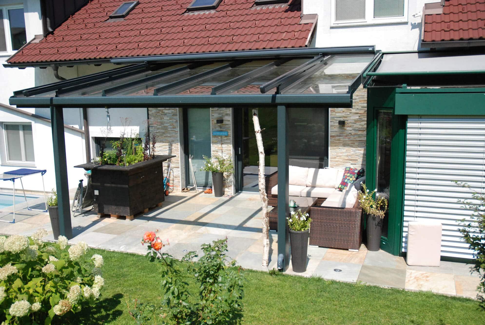 Terrassenglasdach Alu grau nach Maß
