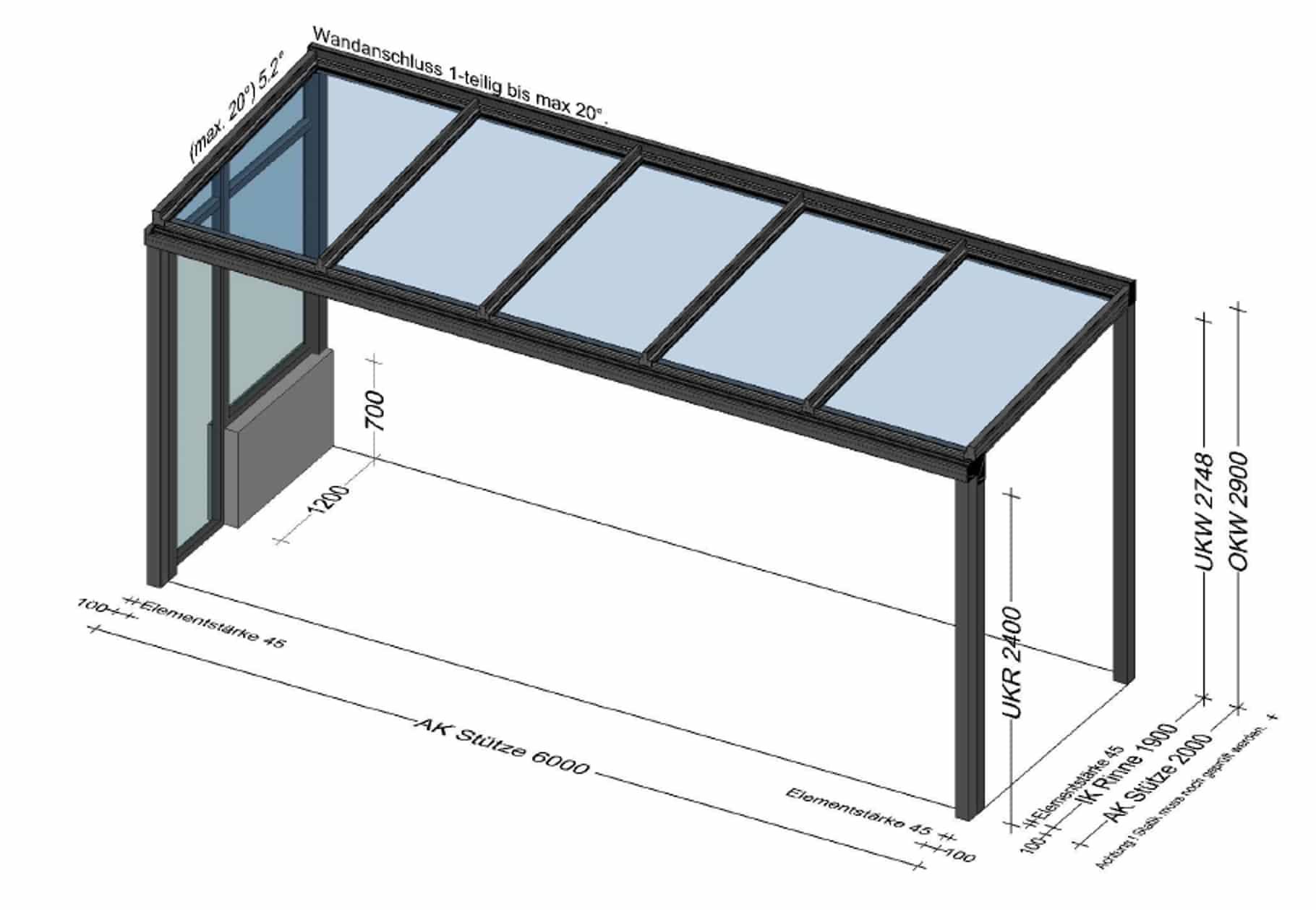 Terrassenüberdachung Seitenwand Glas - Planung BV Altenfelden