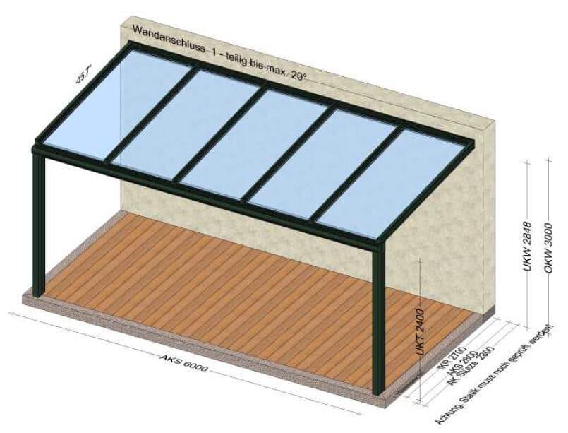 Terrassenüberdachung Standard 6 x 3