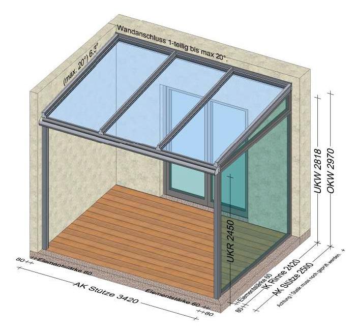 Terrassenüberdachung 1 Seite Mauer, 1 Seite Festverglasung