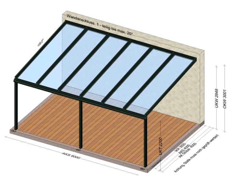 Terrassenüberdachung 6 x 4 in grau