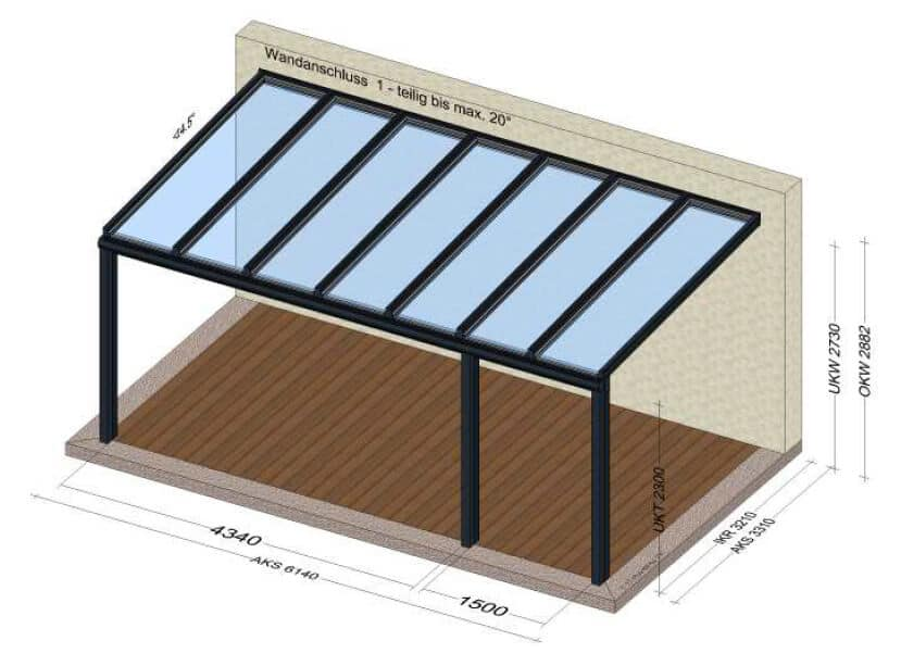Terrassenüberdachung 6,2 x 3,3 Meter