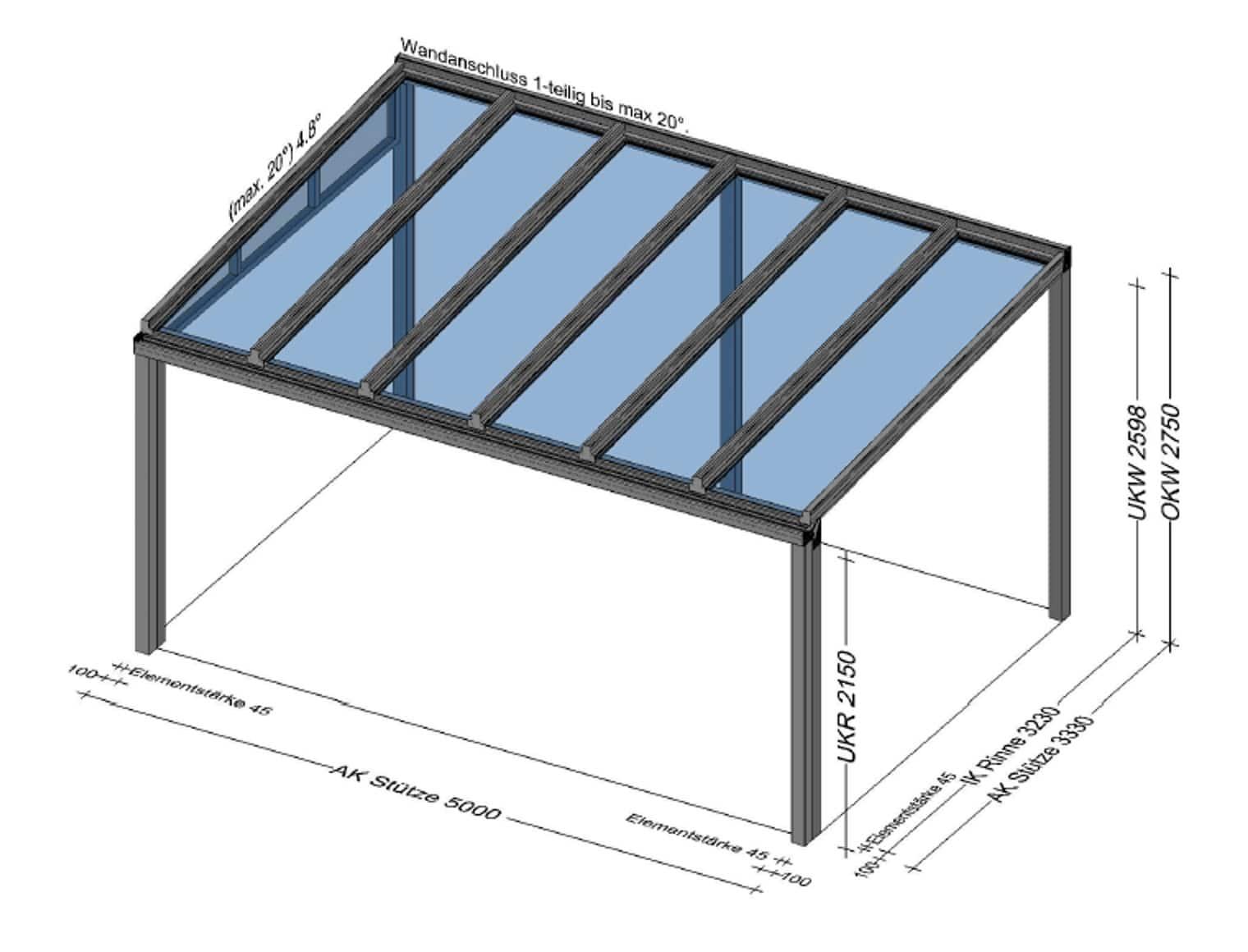 Terrassenüberdachung Alu 5 x 3 Meter
