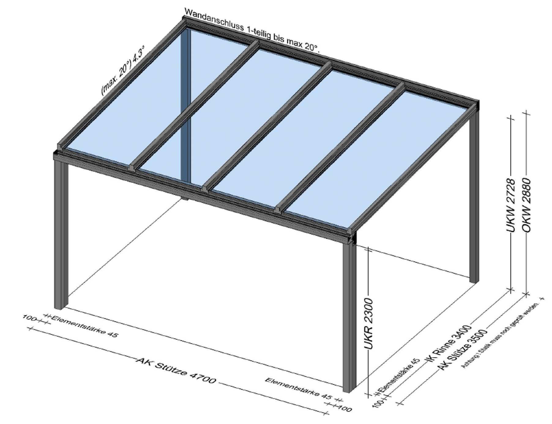 Terrassenüberdachung Alu 5x4 in 4181 Oberneukirchen