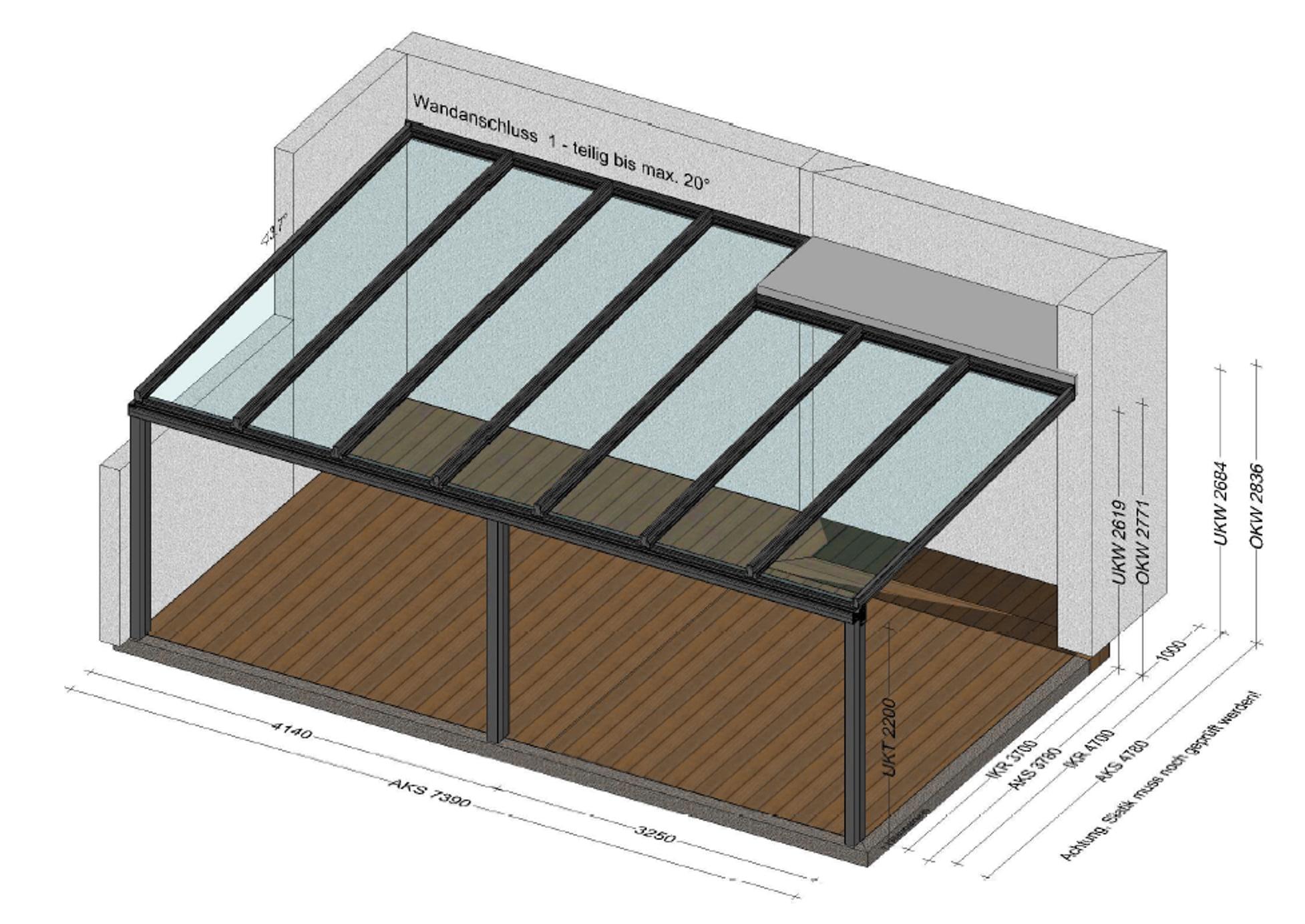 Terrassenüberdachung Alu 7 x 5 Meter