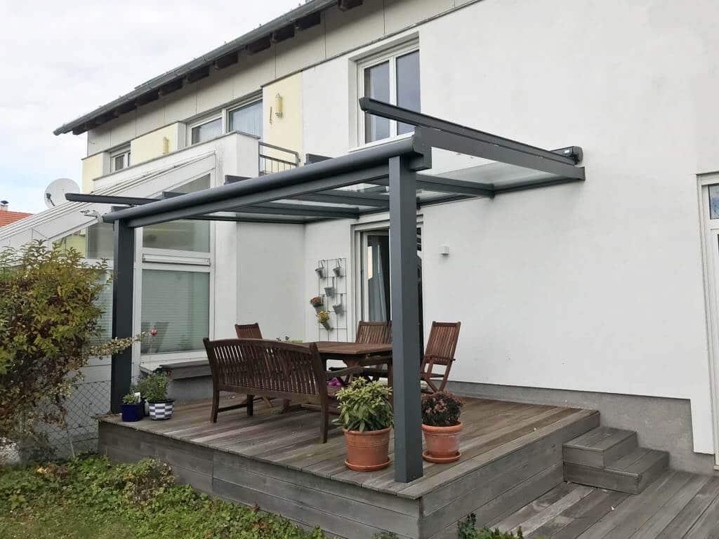 Terrassenüberdachung Alu Glas mit Beschattung - montiert im Mühlviertel - OÖ