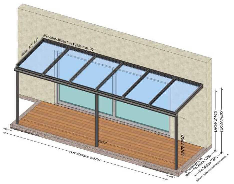 Terrassenüberdachung Aluminium und VSG-Gläsern