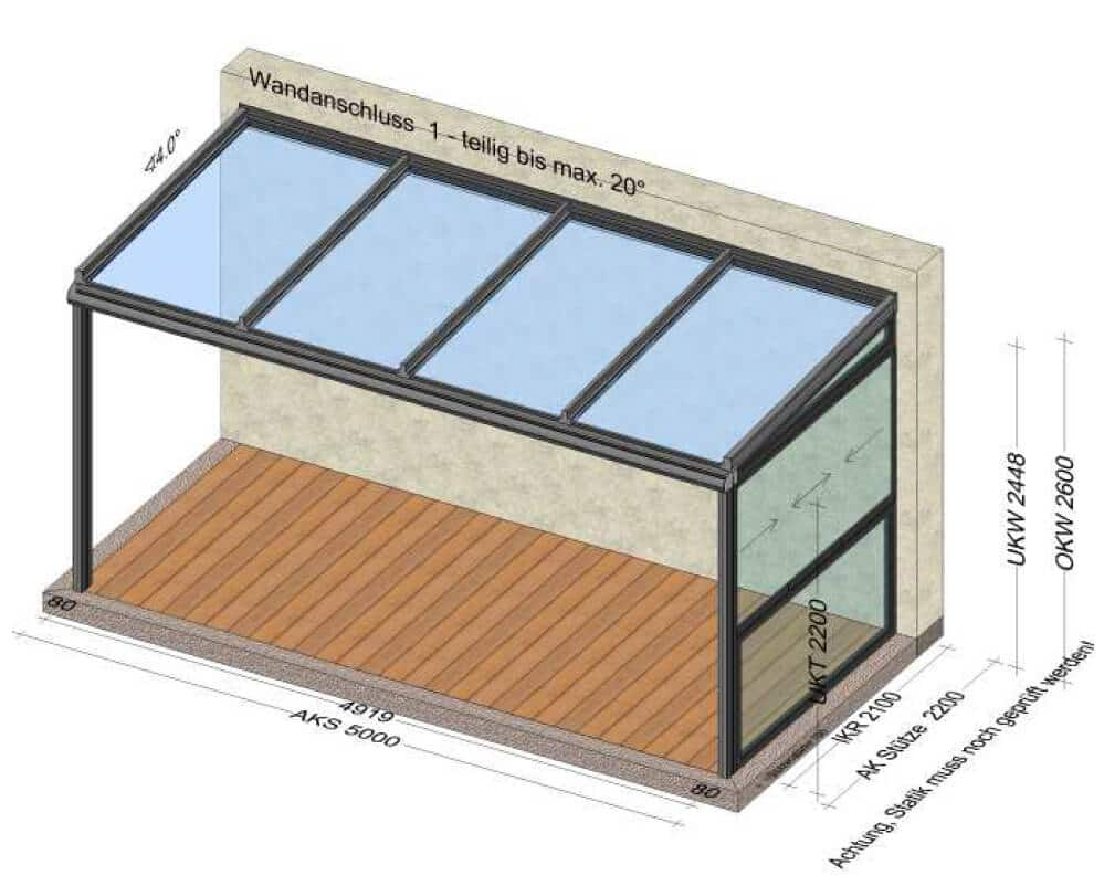 Terrassenüberdachung breite 5 Meter mit seitlichem Schiebefenster