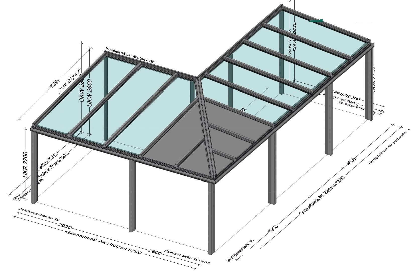 Terrassenüberdachung Eckkonstruktion in Alu