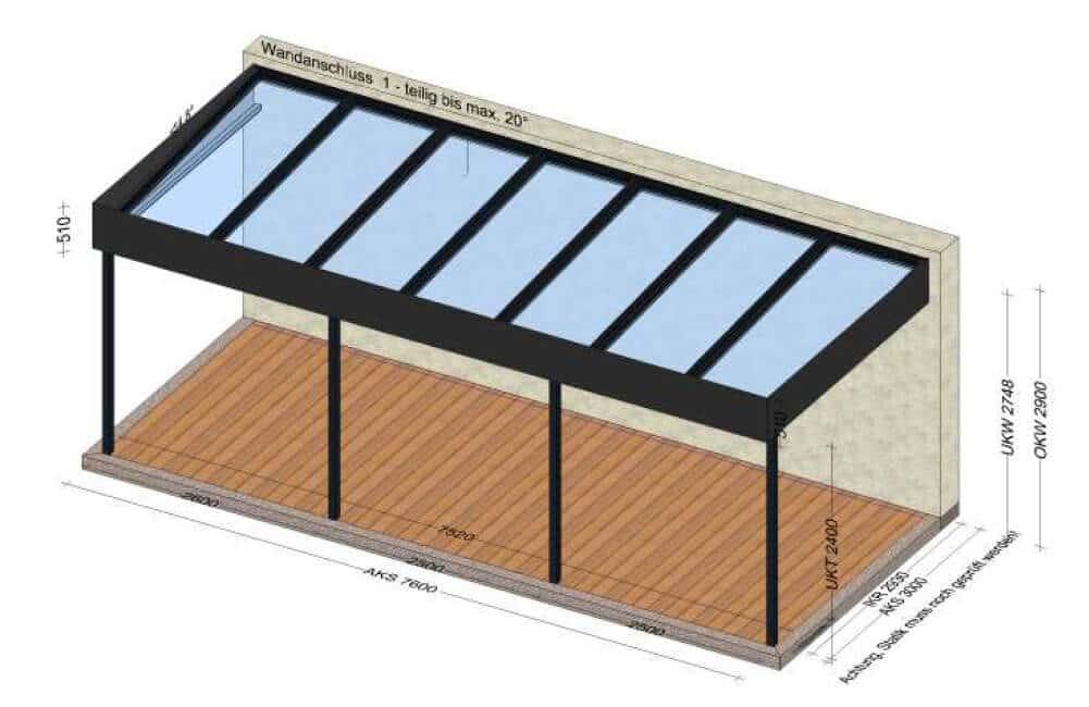 Terrassenüberdachung Flachdach Alu Glas
