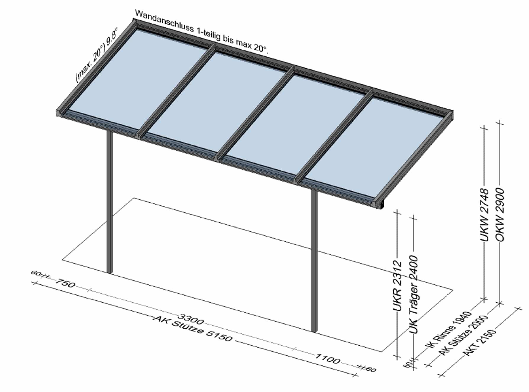 Terrassenüberdachung für Pooltechnik - Planung